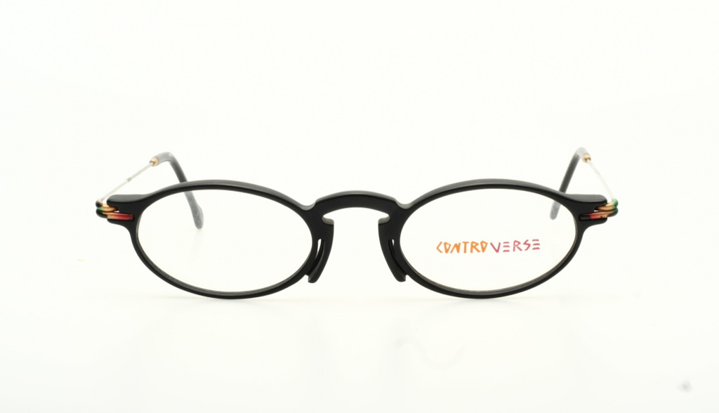 Unique oval eyeglasses in black & silver by CONTROVERSE ...