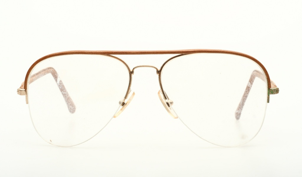 Aviator Eyeglasses Frame : Aviator Vintage eyeglasses real brown leather covered by ...