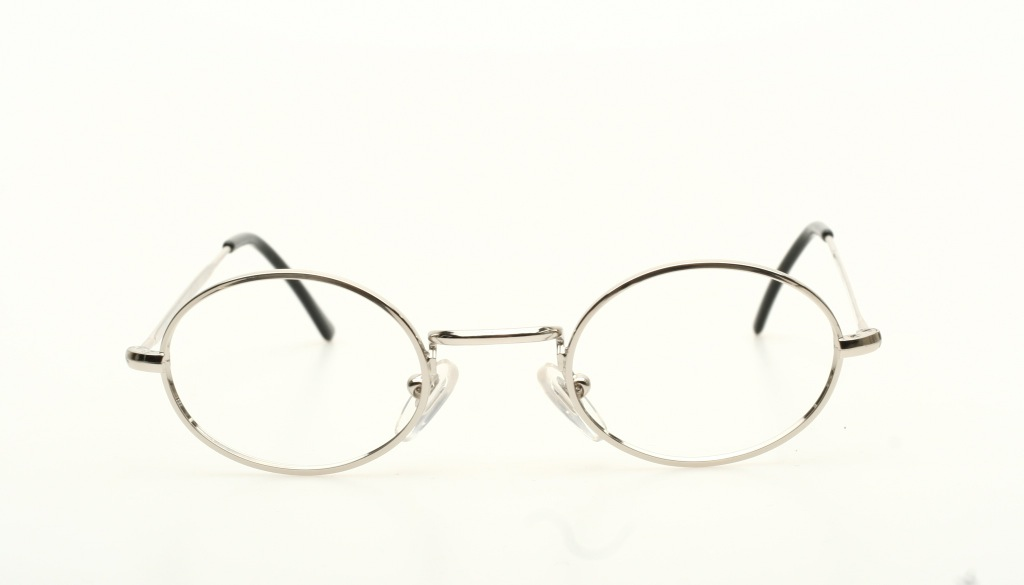 classic oval eyeglasses 42 20mm in shiny silver with