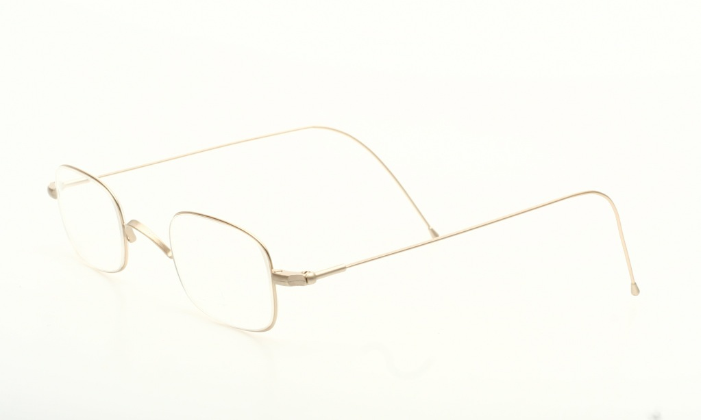 Delicate, squared eyeglasses with long arms in matte light ...