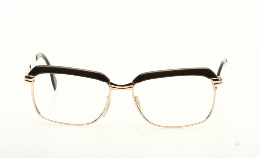 expressive vintage 1960s comby eyeglasses in gold brown