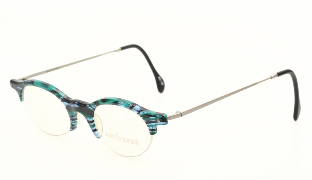 Rimless Glasses With Changeable Arms : Half rimless, oval eyeglasses, blue green & silver arms by ...