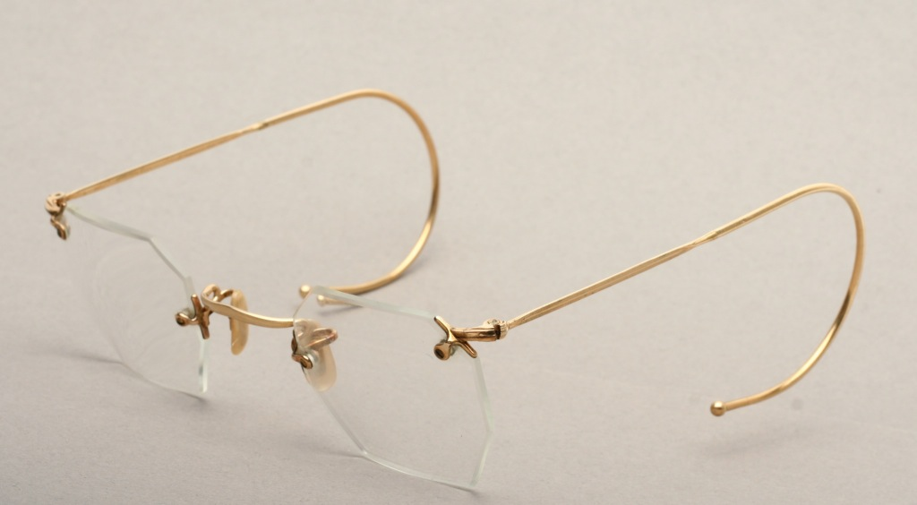 Rimless Octagon Eyeglass Frames : Octagonal antique GOLD FILLED rimless eyeglasses with ...