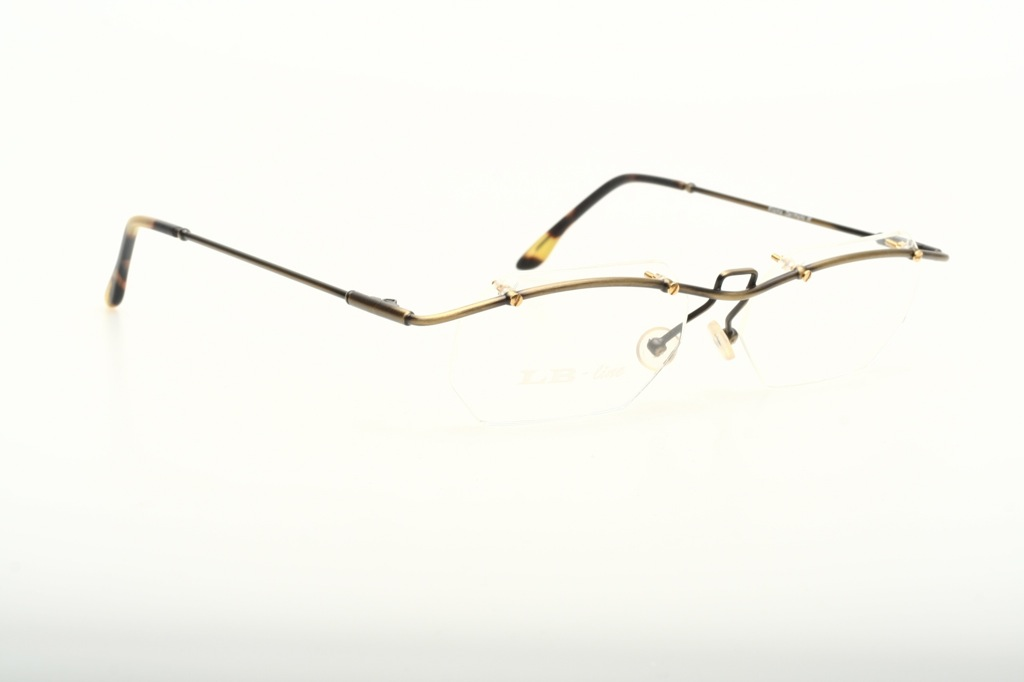 Rimless Octagon Eyeglass Frames : Octagonal, half rimless bar eyeglasses, antique golden by ...