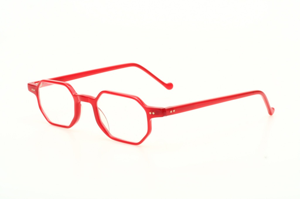 Octagonal classic, red transparent eyeglasses with long ...