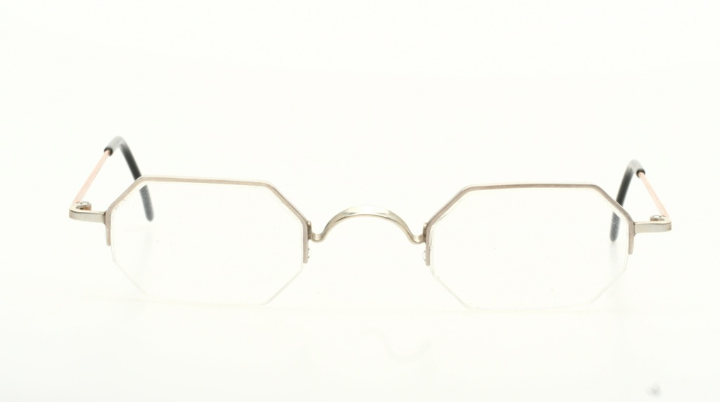 Rimless Octagon Eyeglass Frames : Octagonal, half rimless nylor eyeglasses in shiny silver ...