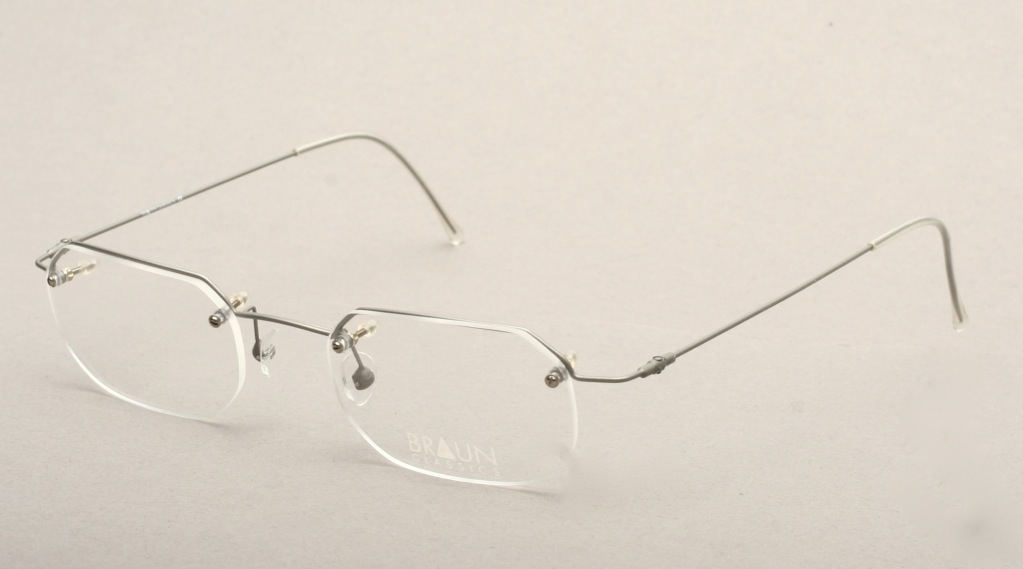 Rimless Octagon Eyeglass Frames : Edgy rimless eyeglasses in matte silver BRAUN CLASSICS col ...