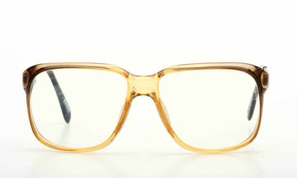 squared vintage mens eyeglasses yellow silver by zeiss
