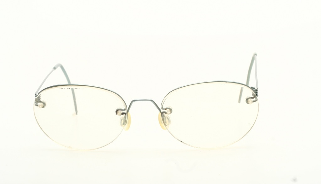 Ultra light, half rimless Titanium eyeglasses,matte silver ...